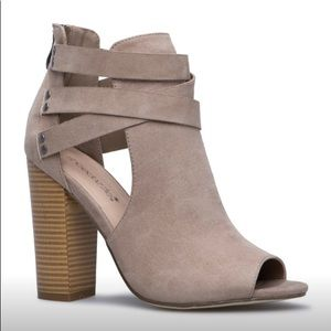 NWT Shoe Dazzle Taupe Faux Suede Open-Toe Booties